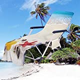 """CNKOBE Chaise Lounge Pool Chair Cover Beach Towel Fitted Elastic Pocket Won't Slide (16, 78.7""""×29.5"""")"""