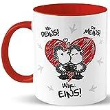Sheepworld Tasse für Paare »Ich: Deins! Du: Meins! Wir: EINS!« mit Namen des Paares, personalisiert (rot)