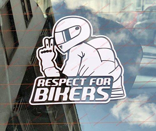 Respect For Bikers, Aufkleber für Auto und Motorrad. Bianco