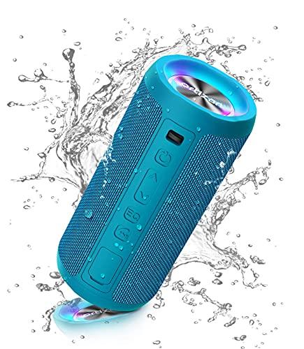 Ortizan Altavoz Bluetooth Potente Portatil X10P Azul con Luz LED de Color Hay Volumen Alto y Graves Potentes, Batería Grande 2600mAh Apoya Reproducción de Música 30H, Bluetooth 5.0 y IPX7 Impermeable