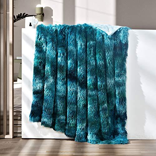 GONAAP Faux Fur Throw Blanket Decorative Super Soft Fuzzy Shaggy Luxurious Cozy Plush Fluffy Long Hair Comfy Microfiber Fleece Reversible for Coach Bed Chair Sofa (Tie-dye Forest Green 50'X60')
