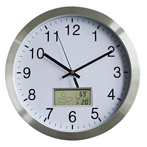 Batop Funkuhr Wanduhr, 12 Zoll (30cm) Wanduhr Funk Geräuschlos mit Thermometer und Hygrometer für Wohnzimmer Büro Zuhause