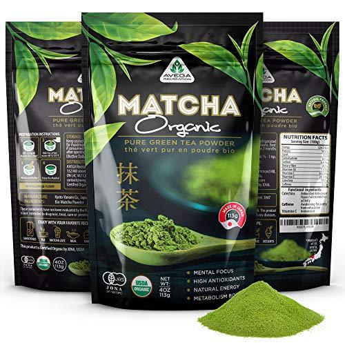 Organic Matcha Green Tea Powder [USDA certified] Japanese Macha 100% Pure Highest Premium Grade [4oz] Great for Smoothies and Baking