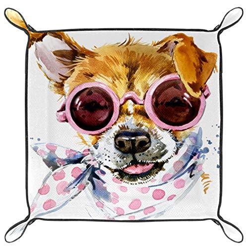 rogueDIV Bandeja para dados con bandeja para rodar dados y bandeja de almacenamiento para juegos de mesa RPG DND, bandeja de dados, lindo perro con gafas bufanda