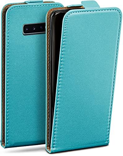 moex Flip Hülle für Samsung Galaxy S10 Hülle klappbar, 360 Grad R&um Komplett-Schutz, Klapphülle aus Vegan Leder, Handytasche mit vertikaler Klappe, magnetisch - Türkis