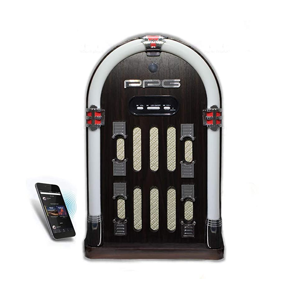 ppg Retro Jukebox with Modern Bluetooth FM Radio Color Shifting LED Lights and 3.50mm Aux-in Jack Dark Brown (P17-J359B-DB)