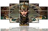 CSDECOR Art Mural De Pared 200X100 Cm 5 Paneles Lienzo Arte De La Pared HD Impresiones Antiguas Pinturas De Maquillaje Cleopatra Egipto Imágenes para Sala De Arte Vintage Decoración Moderna Casa Deco