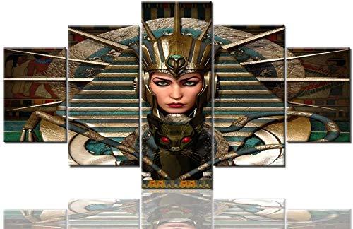 ARXBH Cuadro De Arte De Pared 5 Piezas 200X100 Cm / 78,8 X 39,4 Pulgadas 5 Paneles Lienzo Arte De La Pared Impresión En HD Pintura De Maquillaje De Cleopatra Antigua Egipto Cuadros para La Sal