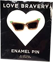 Love Bravery by Lady Gaga and Elton John Enamel Sunglasses Pin, Gold