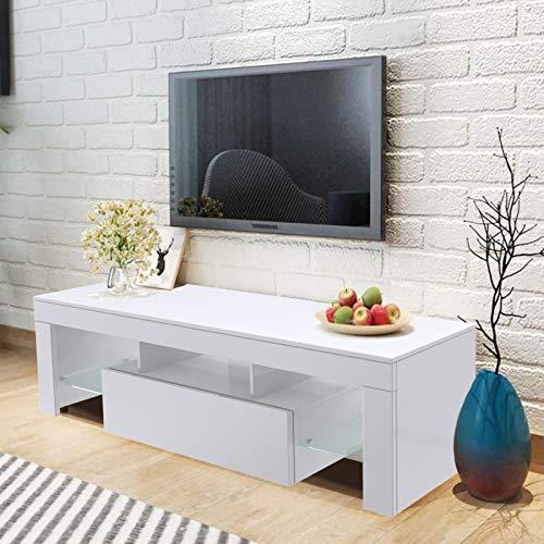 WISFORBEST Mueble TV LED Mesa para Televisión hasta 60 Pulgadas Mueble de Salón Moderno con 1 Cajón Grande y 2 Estantes de Vidrio Carga Máx 60kg 130 x 35 x 45 cm (Blanco)