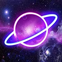 ORHOMELIFE 惑星ネオンライトサイン ピンク/ブルー LED ネオンサイン 壁装飾 ネオンランプ 電池/USB操作 惑星ナイトライト 寝室 子供部屋用 クリスマス 結婚式 誕生日パーティー装飾