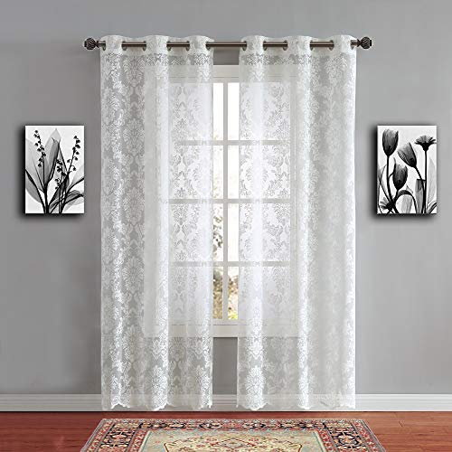"""WARM HOME DESIGNS Pair of Standard Length 38"""" x 84"""" Ivory (Light Beige) Color Knitted Lace Curtains with 6 Grommets per Panel. Total Width 76"""". Chic, Flowing Design at Affordable Price. LI Ivory 84"""""""