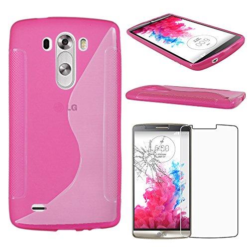 ebestStar - Funda Compatible con LG G3 D855 Carcasa Gel Silicona Gel TPU Motivo S-línea, S-Line Case Cover, Rosa + Cristal Templado Protector Pantalla [Aparato: 145.5 x 74.6 x 9.1mm, 5.5'']
