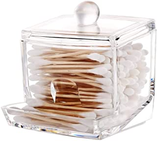 YDAZU Cotton Swab Holder Qtip Cotton Buds Ball Dispenser Square Bathroom Jar Clear Organizer Transparent Cotton Swab Box for Bathroom Dressing Room