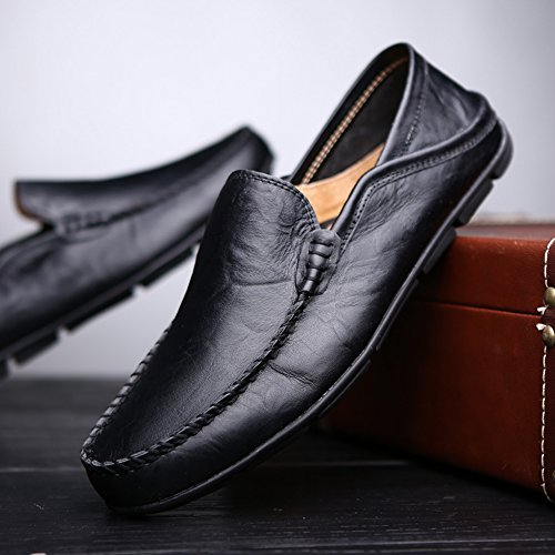 Go Tour Men's Premium Genuine Leather Casual Slip On Loafers Breathable Driving Shoes Fashion Slipper Black 45