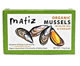 Matiz Espana Organic Mussels in Extra Virgin Olive Oil and Apple Cider Vinegar (4 oz.) From the Coast of Galicia, Spain (4 Ounce (Pack of 2))