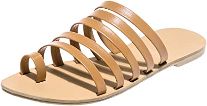 POPLY Orthotic Sandals Women, Ladies Spring Summer Flat Heel Slip On Strap Slippers Beach Sandals Roman Shoes Platform Shoes for Women UK Size 4-8