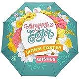 Feliz cumpleaños Huevos de Pascua Flores Florales Margarita Paraguas Abierto automático Paraguas de Lluvia Solar Paraguas Plegable Ultravioleta Compacto Automático