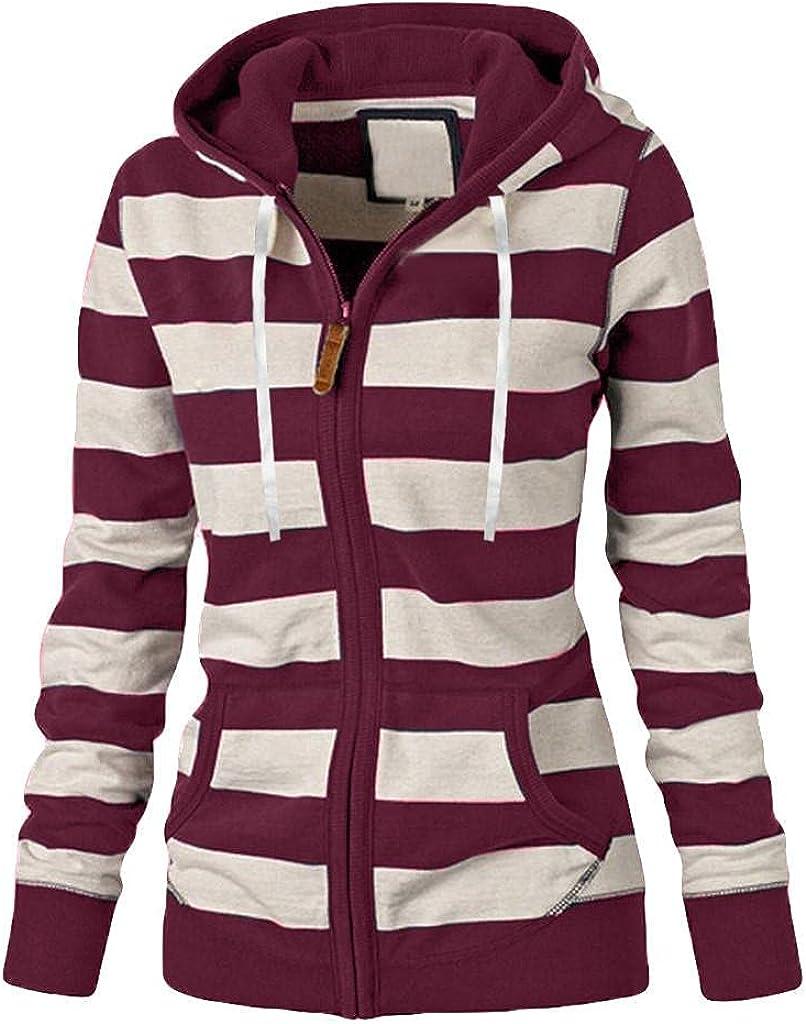 ORT Hoodies for Women with Designs, Womens Long Sleeve Knit Sweater Zip Up Hoodie Lightweight Color Block Sweatshirt