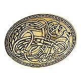 IPOTCH Escudo Vikingo Broches Alfileres Insignia, Bufanda Decorativa Capa Mantón Hebilla Broche Broche, Ropa Decoraciones De Disfraces Joyas para Mujeres Niñ - Oro, 4.2x5.8cm