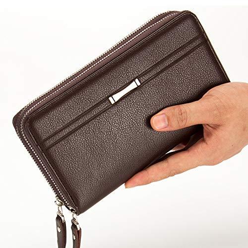 Entweg Wallet Handbag for Men-Genuine Long PU Leather Cell Phone Clutch Wallet Purse Hand Bag Top Zipper Large Wallet Card Holders