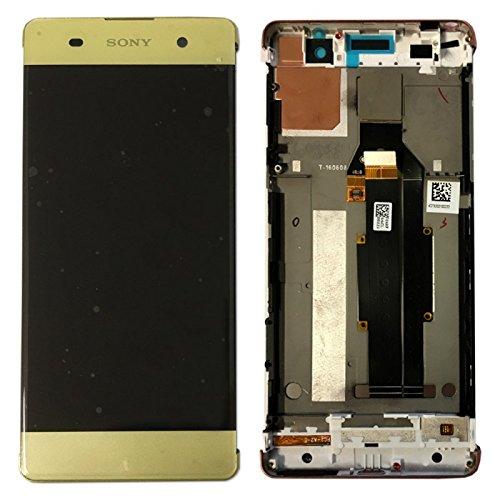 Sony Display Full LCD Komplettset mit Rahmen Touchscreen Glas Scheibe Ersatzteil Zubehör Reparatur Schwarz für Xperia XA F3111 F3112 Lime-Gold + Werkzeug Opening Tool