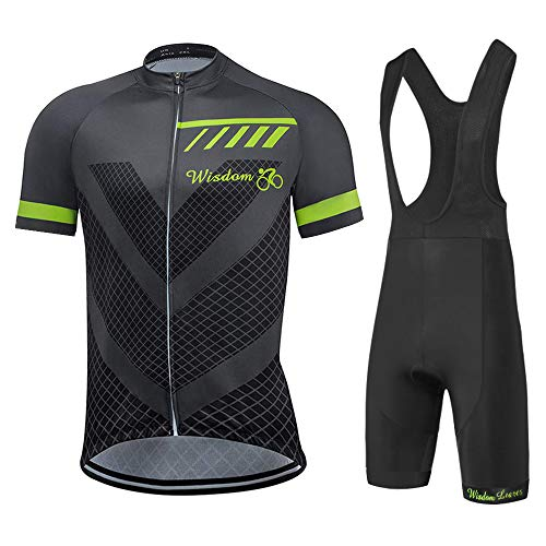 Trajes de ciclismo, manga corta, transpirable, secado rápido, absorbente de humedad + acolchado 3D, culotte con tirantes de bicicleta para hombre [2XL] [Gris negro]