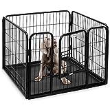 Parc/enclos pour chiot/lapin/animal de compagnie  4 panneaux en mtal robuste et avec bac Milo & Misty
