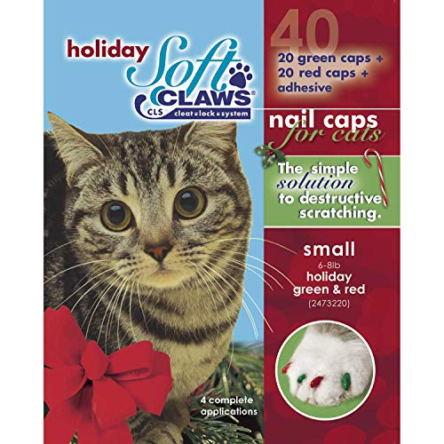 Soft Claws Seasonal Holiday Red & Green Cat Nail Caps, Small
