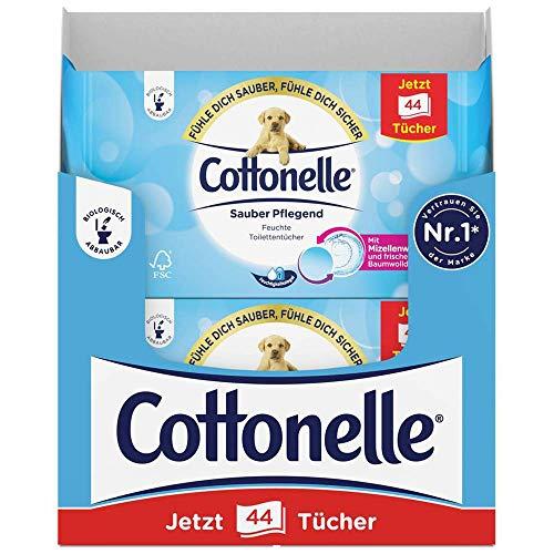 Cottonelle - Papel higiénico húmedo, cuidado limpio, aroma de agua micela y algodón, biodegradable, reutilizable, pack de 12 x 44 toallitas