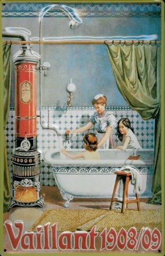 Buddel-Bini Versand Blechschild Nostalgieschild Vaillant 1908/09 Badeofen