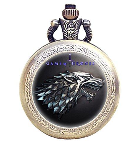 TAPORT® Reloj de bolsillo de cuarzo antiguo grabado bronce para los fans de Juego de Tronos