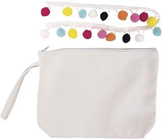 Rayher 53992000 Beauty Bag Boho Bastelpackung, 22 x 17 cm, mit Reißverschluss und Trageschlaufe, Kosmetiktasche aus Stoff, bunt verziert, schnell gemacht, einfach Pomponborte annähen, weiß