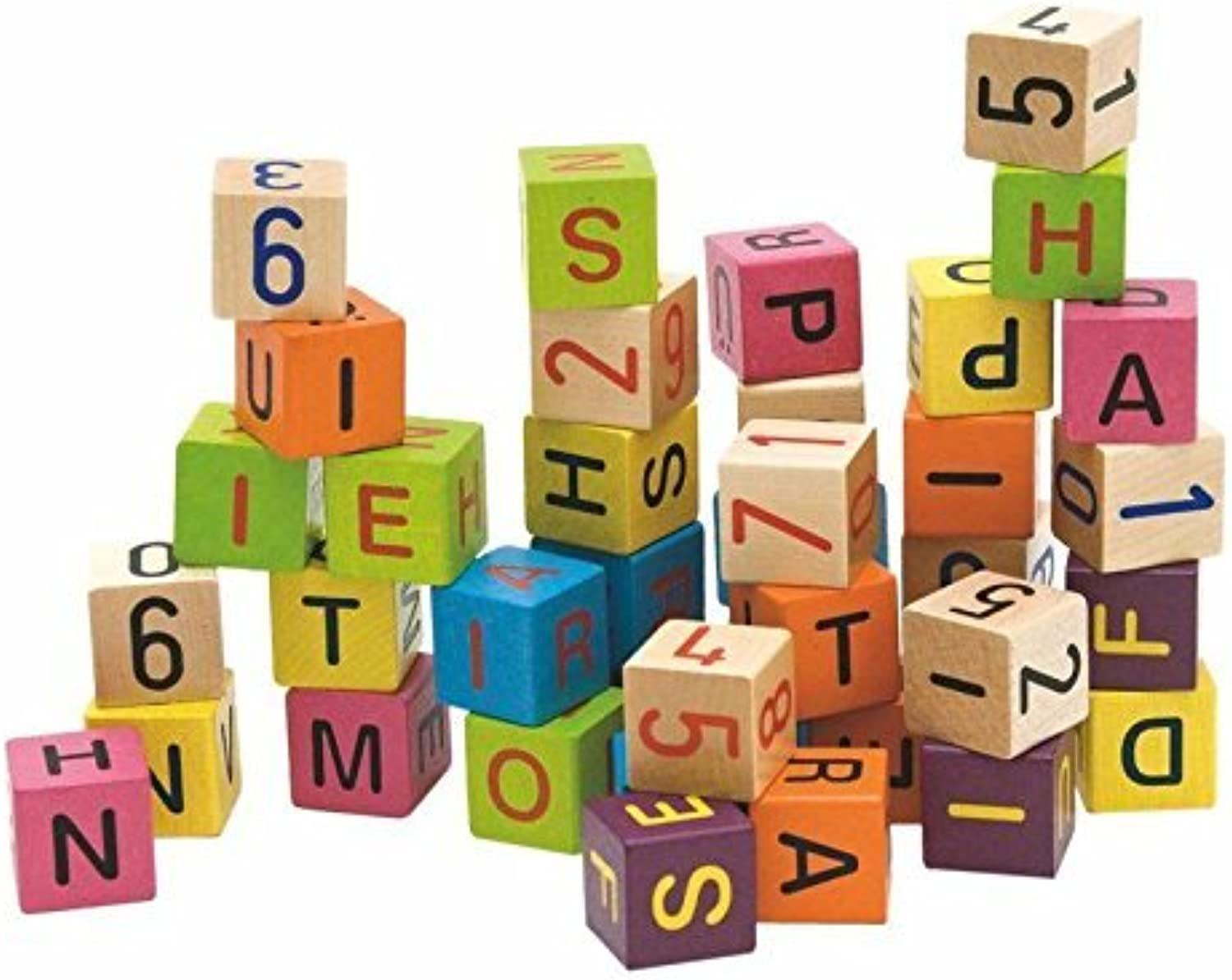 Woodyland Coloured Blocks with Alphabet and Numbers (40Piece) by Woodyland