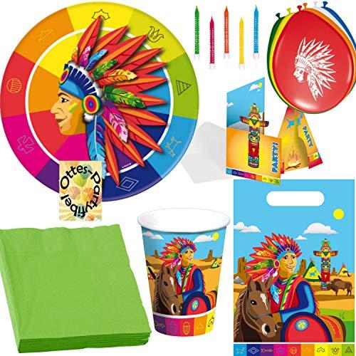 HHO Indianer Partyset 70 TLG. Teller + Becher + Servietten + Tüten + Karten + Ballons + Kerzen für 8 Bleichgesichter