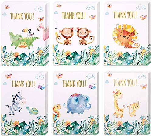 30 Safari Thank You Cards | Bulk Jungle Animal Thank You Notes with Matching Envelopes & Stickers | Small & Cute Zoo Notecards Perfect for Baby Shower and Kids Birthday.