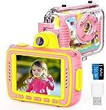 Oiiwak Kinderkamera,Digitalkamera wasserdicht 8MP 1080P Stoßfest Action Kamera Selfie Kamera mit 32G Speicherkarte+TF Kartenleser, Geschenk für 4-12 jährige Mädchen Geburtstag Fest Weihnachten