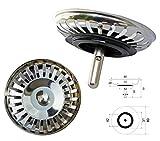 ProKIRA Passoire panier universel 8,9 cm (Ø80mm), pour évier à commande manuelle/Inox