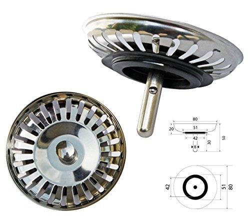 ProKIRA Universal Siebkörbchen 3,5 Zoll (Ø80mm), für Spülen mit Handbedienung/Edelstahl