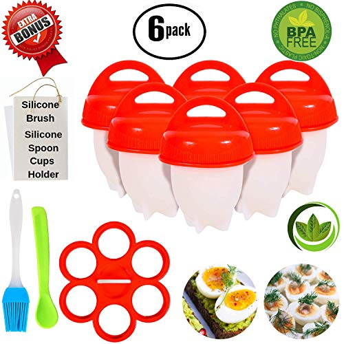 No.1 Hard Boiled Silicone Egg Cooker Without The Shell, Non Stick Egg Boil Poacher, As Seen On TV, With Bonus Holder, Silicone Oil Brush & Silicone Spoon, (6pc), Red (Updated and New Complete Set)
