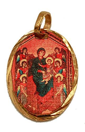 Medalla de Nuestra Señora de Ángeles de Diamantados de Florida chapada en Oro de 14 K con 18 Cadenas, Virgen de Los Ángeles Medalla