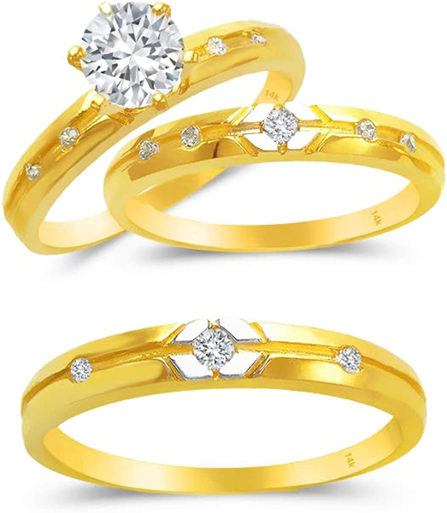 TOUSIATTAR Trio Ring Set 14k Gold - 3-Piece Wedding His Engagement & Her Band Rings Sets - Round Cubic Zirconia for Couple Mens and Women - Anillos de Matrimonio
