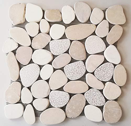Mosaik Fliese Flußkiesel Steinkiesel Kiesel geschnitten Struktur weiß cream für BODEN WAND BAD WC DUSCHE KÜCHE FLIESENSPIEGEL THEKENVERKLEIDUNG BADEWANNENVERKLEIDUNG Mosaikmatte Mosaikplatte