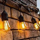 ORAOKO Lichterkette Außen Glühbirnen, 15.2M S14 (15 Birnen,1 Ersatzbirnen) Lichterkette Gluehbirne Aussen LED IP65 Wasserdicht Warmweiß für...