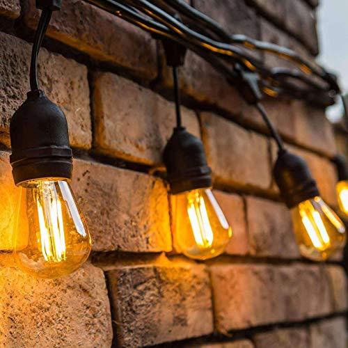 ORAOKO Lichterkette Außen Glühbirnen, 15.2M S14 (15 Birnen,1 Ersatzbirnen) Lichterkette Gluehbirne Aussen LED IP65 Wasserdicht Warmweiß für Garten, Terrasse, Bäume, Party, Bar, Balkon, Hochzeit, Feier