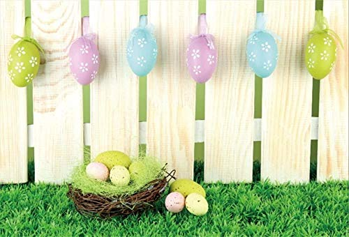HD 3x2.1m Vinyl Photography Backdrop Easter Day Decoration Colorful Easter Eggs Nest Fence Green Grass Backdrops for Photo Shoots Lovers Party Adult Kids Photo Background Studio Props