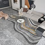 Alfombra articulos de Cocina Fácil Limpieza Gris Amarillo Oro geométrico diseño Antideslizante Alfombra alfombras Pelo Corto alfombras para Comedor 60*160CM