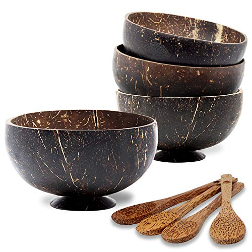Coconut Smoothie Bowls with Spoons: Set of 4 Large Capacity Coconut Bowls with Wooden Spoons, Polished and Coated with Olive Oil Ideal Coconut Bowls for Acai, Vegan Smoothies, Buddha Bowl