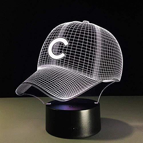 3D Hip Hop Honkbal Team Cap Led 3D Illusie Nachtlampje 7 Kleuren Usb5V Of Batterij Amerikaanse Honkbal Hoed Hologram Visuele Lamp Giftlampada Illusie Nachtbed