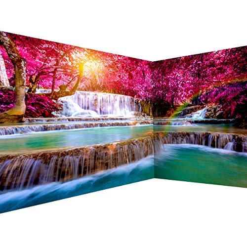 decomonkey Fototapete Wasserfall 550x250 cm Eckfototapete Design Tapete Fototapeten Tapeten Wandtapete moderne Wand Schlafzimmer Wohnzimmer Natur Sonne